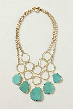 Hammered Turquoise Bib Necklace on sale 20% off!!! #anthrofave