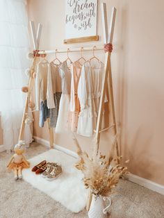 DIY: Girls Wooden Clothing Rack Tutorial - The Southern Peony clothing rack