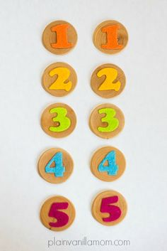 Help your little ones learn their numbers. How to make these counting discs and a host of activities to go along with them.
