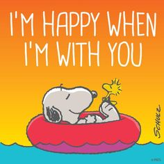 "Snoopy and Woodstock friendship and love -- ""I'm happy when I'm with you. Peanuts Gang, Peanuts Cartoon, Charlie Brown And Snoopy, Snoopy Et Woodstock, Snoopy Pictures, Snoopy Images, Snoopy Quotes, Peanuts Quotes, Joe Cool"