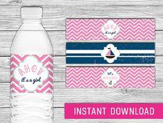 Printable Water Bottle Labels  Nautical Baby by PurdyPrintsNYC, $4.99
