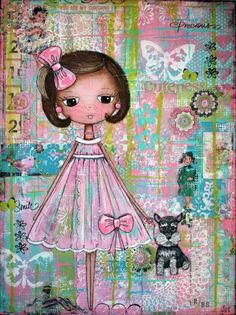 """Emma Gayle"" by Becca's Dollhouse Art Studio: Patchwork Blooms/Dolly Daydreams"