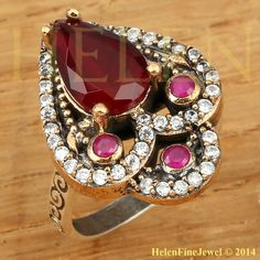 Hurrem Sultan Ring Tear Drop Shape Ruby Color by helenfinejewels