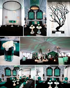 jade white and black wedding theme color ideas black and teal wedding ideas source hotpinkbrides com Wedding Reception Themes, Wedding Planning, Wedding Decorations, Black Wedding Themes, Wedding Lounge, Sweet 15, Green Wedding, Our Wedding, Wedding Veils
