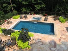 Beautiful negative edge spa spillway custom pool water for Pool designs lexington ky