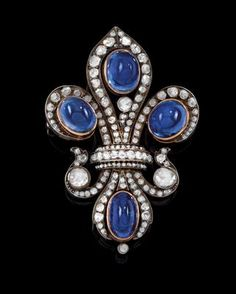 A fleur-de-lis brooch with untreated sapphires total weight c. 19 ct from an old European aristocratic collection circa 1900 Gems Jewelry, Jewelry Art, Jewelery, Fine Jewelry, Jewelry Design, Antique Rings, Antique Jewelry, Vintage Jewelry, Antique Gold