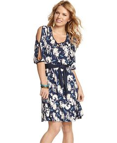 Jessica Simpson Dress, Short Split Sleeve Floral Print Belted Keyhole at Macy's