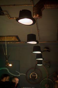 Steampunk Bistro Pub with nice Ceiling Lights Flush Mount Lighting