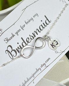bridesmaid gifts ,wedding jewelry,Infinity Bracelet with card, Best friends Bracelet,friendship to infinity,Beach wedding gifts,monogram. $29.99, via Etsy. Cute idea!