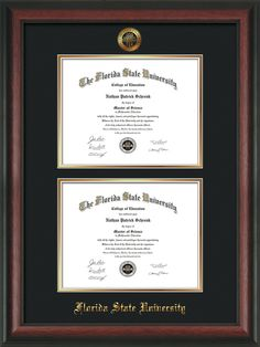 florida state university diploma frame rosewood wembossed fsu seal name double diploma black on gold mats