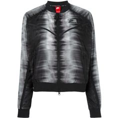 Nike International zig zag bomber jacket ($126) ❤ liked on Polyvore featuring outerwear, jackets, black, nike, flight jacket, flight bomber jacket, zipper jacket and blouson jacket