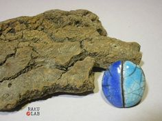 Anello in ceramica raku azzurro e blu cobalto  di RAKULAB su Etsy