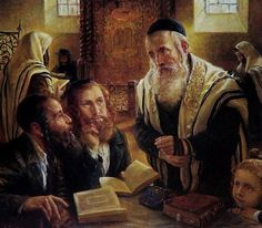 Elena Flerova -The Debate II- Jewish Art Oil Painting