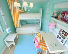 Interesting Teenage Girl Bedroom Ideas With Bunk Beds In White Polished Solid Wood Be Equipped Wooden Stairs And White Rectangle Twin Size Foam Mattress Also Mini White Rectangle Solid Wood Table Plus White Wooden Chair As Well Cool Cone Shade Pendant Lamp, The Most Coolest Tween Room Design Ideas For Girls: Bedroom