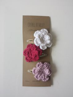 Crochet Flower Hair Clips // 100% Cotton // Set of Three in Pastel White, Raspberry & Pink/Purple // Custom Colours Available by CroShellbyshelley on Etsy