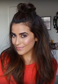 Learn Vlogger Sazan Barzani's technique for the half-up top knot—the grown up answer to the half-up, half-down hair trend.