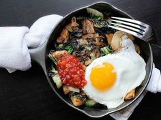 SPICY POTATO, BOK CHOY, AND SHALLOT HASH...eggs over hard please