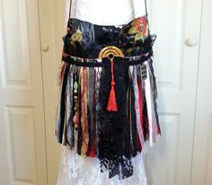 Asian -  Oriental Inspired Gypsy Fringe Bag -  Bohemian Bag - Romantic Boho Hippie Bag - Cross Body Bag