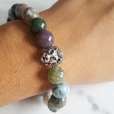 Just listed! This fancy jasper beaded bracelet with a silver lion head charm. Only 1 piece remaining!