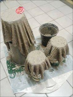 soak fabric in liquid cement