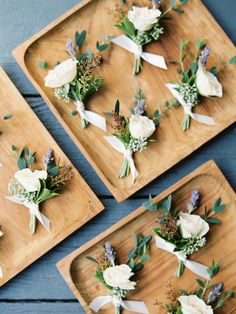 Boutonnieres galore! Florals: Bramble & Bee - http://www.stylemepretty.com/portfolio/bramble-and-bee Photography : Michelle Boyd Photography - www.michelleboydphotography.com   Read More on SMP: http://www.stylemepretty.com/2017/02/16/the-prettiest-shades-of-purple-for-a-vintage-farm-wedding/