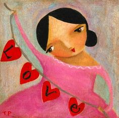 Nursery art LOVE string of hearts folk art PRINT of by tascha, $14.00
