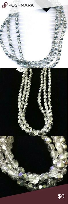 NWT 3 Strand Glass Bead Necklace Cookie Lee Gorgeous 3 strand silver glass beaded necklace by Cookie Lee. Can be worn several ways... As is, Torsade or Layered over a simple pendant necklace. Glam up your LBD this winter. Cookie Lee Jewelry Necklaces