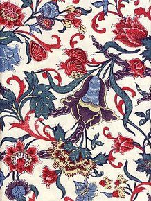 Dutch Repro woodblock Tulips Cotton Chintz   all cotton   60 inches wide Price: $55 per yard   Product Number: 232-E