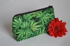 Handmade Marijuana Leaf Large Makeup Bag // Unique by HoneyBagger