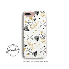 Bird iPhone Case - iPhone 7 Case - iPhone 7 Plus Case - iPhone 6 Case - iPhone 8 Case - iPhone X Case - iPhone 8 Plus Case - Clear/Black by PetrichorCases on Etsy Iphone 7 Plus Cases, Etsy, Bird, Creative, Birds