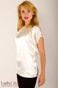 White satin T-shirt blouse