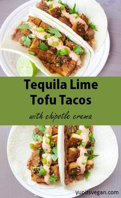 Tequila Lime Baked Tofu Tacos | yupitsvegan.com. Tofu is marinated in a sweet and savory tequila lime sauce and then baked to perfection, and served up in tacos with #vegan chipotle crema.