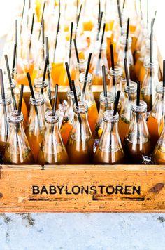 glass bottles + straws
