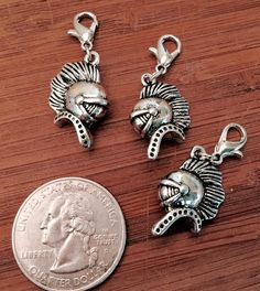 3 pcs ~ Warrior Hoods antique silver tone charms ready to hang with lobster clasps by BuildUrBling on Etsy