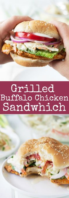 Grilled Buffalo Chicken Sandwich -a super easy recipe for juicy grilled chicken breast coated in a spicy buffalo sauce! Buffalo Chicken Sandwiches, Grilled Chicken Sandwiches, Chicken Sandwich Recipes, Lunch Recipes, Cooking Recipes, Grilled Sandwich, Drink Recipes, Chicken Sandwhich, Vegan Sandwiches