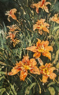 Ditch Lilies - Linda Virio Encaustic, watercolour batik and watercolour artist