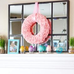 Easy Easter Mantel with Bright Eggs