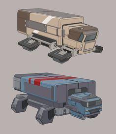 Grav trucks, Timo Kujansuu on ArtStation at https://www.artstation.com/artwork/lyKPJ