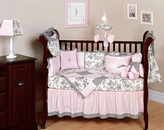 I'm trying to find more ideas for pink and gray baby room decor!