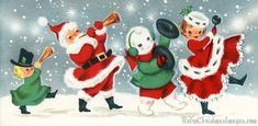 Retro Christmas Images 1950's 60's Stock Art of Baby Boomer Holiday Illustrations Santa Claus Winter Scenes