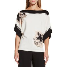 Vince Camuto Boatneck Placed Floral Print Sweater ($59) ❤ liked on Polyvore featuring tops, sweaters, new ivory, slouch sweater, vince camuto tops, floral top, elbow sleeve tops and vince camuto sweaters