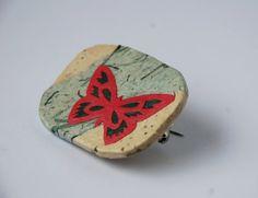 Blue Pink Butterfly Brooch Hanji Paper Pin OOAK Dress Clip Butterfly Design Stainless Steel Pin Handmade