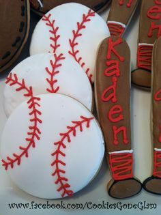 """This is EXACTLY what I'm doing but our son is """"Kaidenz"""" Cookies For Kids, Cute Cookies, Cupcake Cookies, Cupcakes, Bohemian Birthday Party, Baseball Birthday Party, No Bake Sugar Cookies, Royal Icing Cookies, Baseball Cookies"""