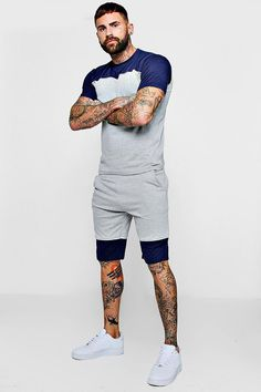 Colour Block T-Shirt & Short Set With Piping Boy Outfits, Fashion Outfits, White Shirt Men, Track Suit Men, Figure Poses, T Shirt And Shorts, Short Set, Colour Block, Mens Clothing Styles