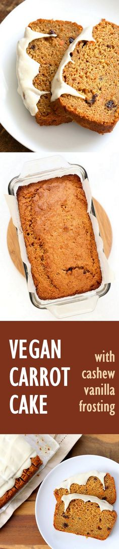 Vegan Carrot Cake Recipe. Vegan Carrot Cake Quick bread loaf with Cashew Cream Frosting. Moist, spiced, full of carrots. Low oil. #vegan #Soyfree #Palmoilfree #Easter #recipe | VeganRicha.com