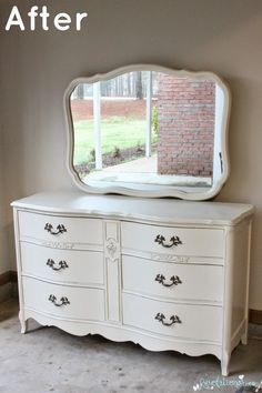 Before and After: The French Dresser with Mirror! Painted with Sherwin Williams Antique White