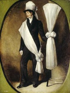 Funeral bearers, or 'mutes' as they were also known, customarily preceded a funeral procession and were a common sight in 19th century London. One of a pair, this painting depicts a funeral bearer at full-length within a feigned oval, standing next to a column. 1831 - 1840- Museum of London