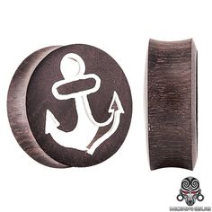 Nereus' Anchor Organic Areng Wood Double Flared Plugs - Pair 0G - 30mm at FreshTrends.com