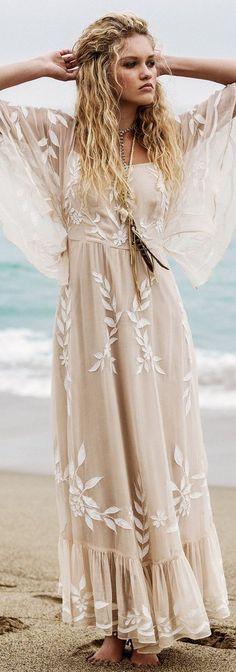nude tone maxi dress bohemian style inspiration