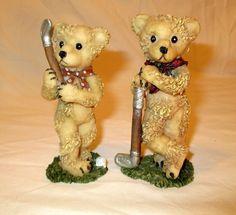 "Vintage Bear Figurines Spaghetti Fur Golfing Couple Man and Woman Cake Topper 4"""